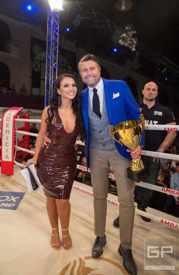 Singer Francisca Dulceanu slaying in the Anastasia Dress at the Superkombat Fighting Championship